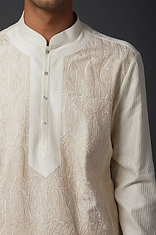 Ivory Kurta With Pants by Rohit Bal Men
