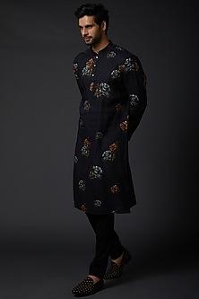Indigo Blue Linen Kurta Set With Print by Rohit Bal Men