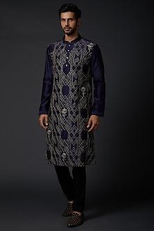 Indigo Blue Chanderi Kurta Set by Rohit Bal Men