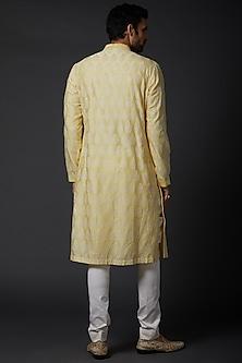 Yellow Embroidered Kurta Set by Rohit Bal Men