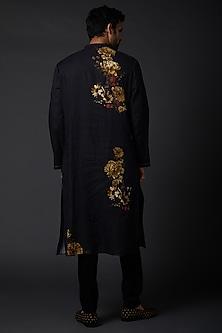 Indigo Blue Linen Kurta Set With Digital Print by Rohit Bal Men