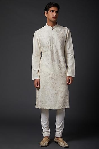 Ivory Linen Embroidered Kurta Set by Rohit Bal Men