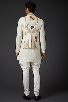 Ivory Embroidered Bundi Jacket by Rohit Bal Men