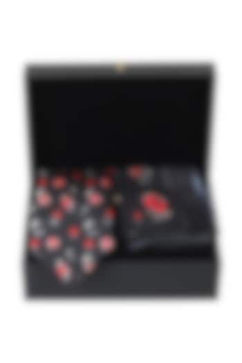 Black Silk Floral Printed Pocket Square With Necktie (Set of 2) by Rohit Bal Men