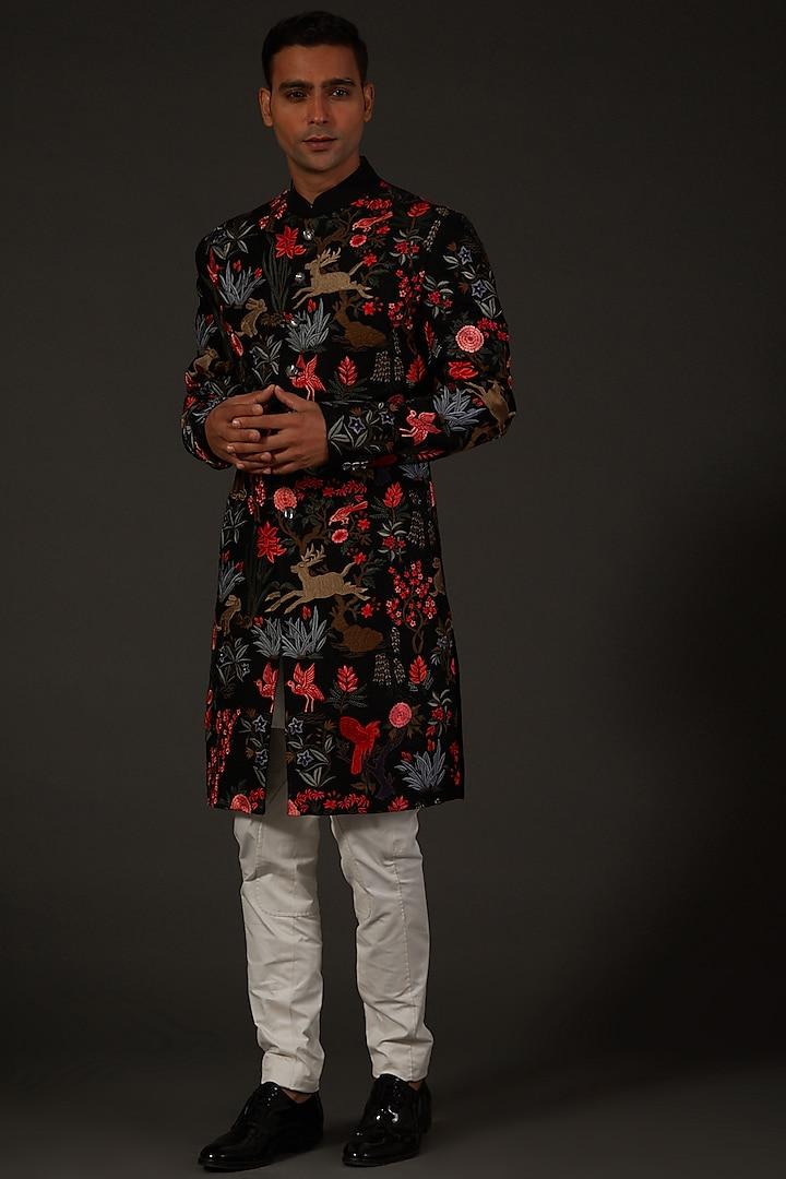 Black Machine Embroidered Sherwani by Rohit Bal Men
