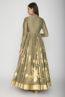 Olive Green Foil Printed Anarkali With Dupatta by Rohit Bal