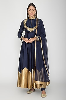 Midnight Blue Embroidered Anarkali Set by Rohit Bal