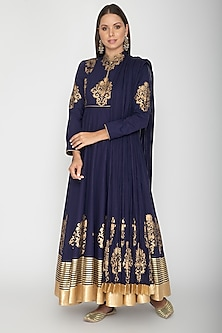 Midnight Blue Block Printed Anarkali With Dupatta by Rohit Bal