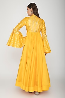Yellow Embroidered Anarkali With Dupatta by Rohit Bal