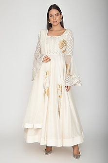 Ivory Embroidered Anarkali With Dupatta by Rohit Bal
