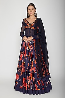Indigo Blue Printed Embroidered Anarkali With Dupatta by Rohit Bal