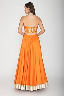 Orange Embroidered Lehenga Set by Rohit Bal