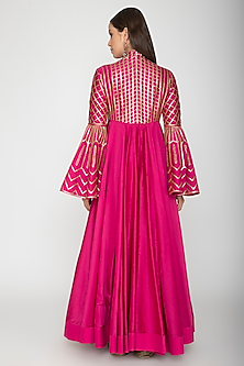 Fuchsia Embroidered Anarkali With Dupatta by Rohit Bal