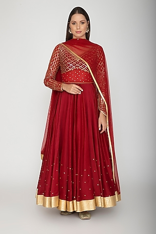 Maroon Sequins Embroidered Anarkali With Dupatta by Rohit Bal