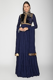 Indigo Blue Embroidered Anarkali With Dupatta by Rohit Bal