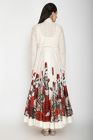 Ivory Printed Anarkali With Dupatta by Rohit Bal