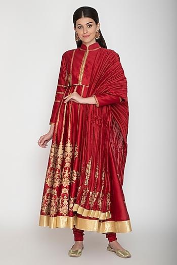 Bindi Red Block Printed Anarkali Set by Rohit Bal