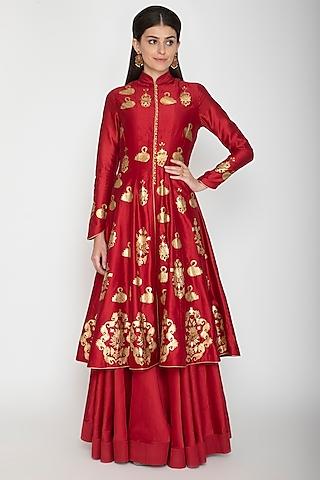 Bindi Red Foil Printed Kurta With Skirt by Rohit Bal
