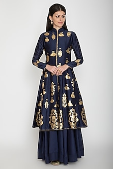 Indigo Blue Foil Printed Kurta With Skirt by Rohit Bal
