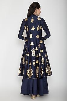Indigo Blue Foil Printed Kurta With Skirt by Rohit Bal