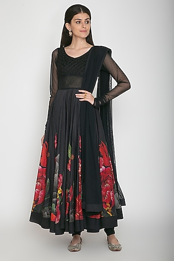 Black Digital Printed Anarkali Set by Rohit Bal
