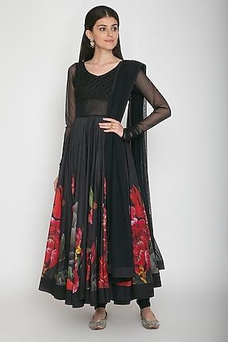 Black Digital Printed Anarkali Set by Rohit Bal