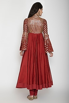 Wine Embroidered Chanderi Anarkali With Dupatta by Rohit Bal