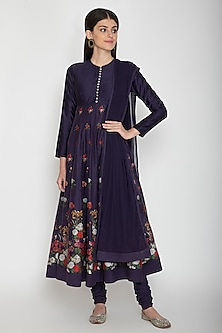 Midnight Blue Printed Chanderi Anarkali Set by Rohit Bal
