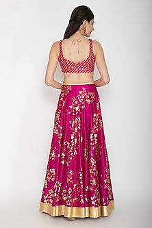 Wine Foil Printed Lehenga Set by Rohit Bal