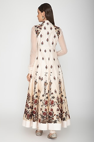 Ivory Digital Printed Anarkali With Dupatta by Rohit Bal