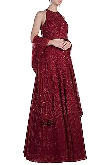 Red Embroidered Bridal Lehenga Set by Rebecca Dewan