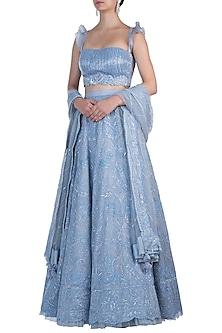 Powder Blue Embroidered Lehenga Set by Rebecca Dewan
