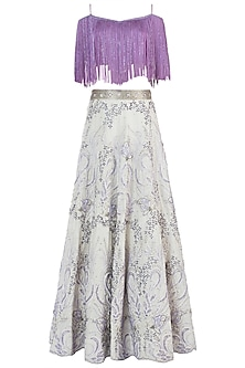 Lavender and White Embroidered Lehenga Set by Rebecca Dewan