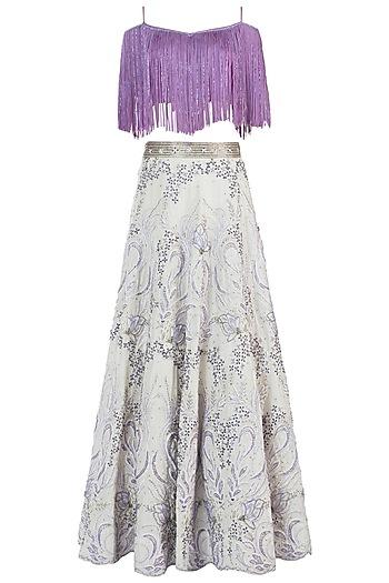 Lavender and White Embroidered Lehenga Set by Rebecca Dewan