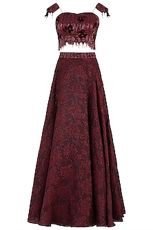 Maroon Embroidered Lehenga Set