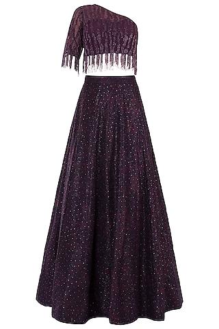Purple Embroidered Lehenga Set by Rebecca Dewan