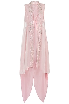 Pink Embroidered Jacket Dress by Rebecca Dewan