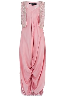 Pink Embroidered Jumpsuit Set by Rebecca Dewan