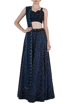 Blue Embroidered Lehenga Set by Rebecca Dewan