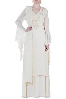 Beige Embroidered Kurta Set by Rebecca Dewan