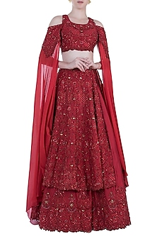 Red Embroidered Swarovski Bridal Lehenga Set by Rebecca Dewan-SHOP BY STYLE