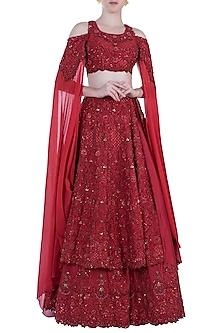 Red Embroidered Swarovski Bridal Lehenga Set by Rebecca Dewan