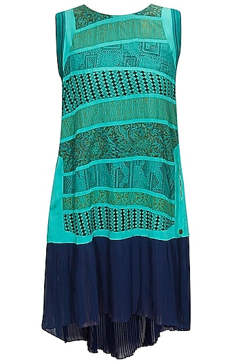 Turquoise striped hand block print trapeze dress by Richa Aggarwal