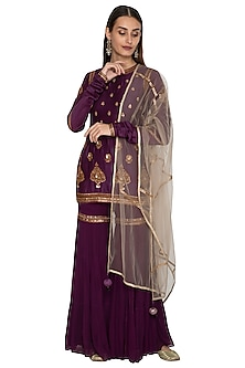 Purple Embroidered Gharara Set by Radhika Airi