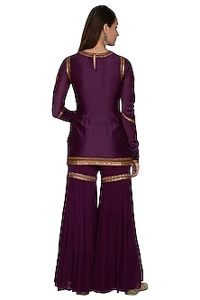 Purple Embroidered Gharara Set by Radhika Airi