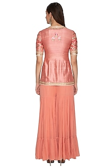 Peach Embroidered Gharara Set by Radhika Airi