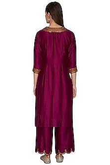 Wine Embroidered Kurta Set by Radhika Airi