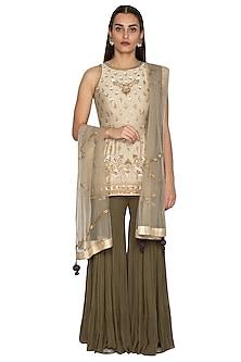 Grey & Olive Green Embroidered Gharara Set by Radhika Airi-EDITOR'S PICK