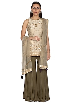 Grey & Olive Green Embroidered Gharara Set by Radhika Airi