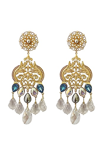 Gold Plated Pearl & Crystal Earrings by Radhika Agrawal Jewels